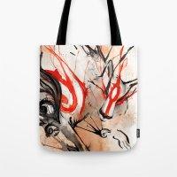 okami Tote Bags featuring Okami Amaterasu Ink by Rubis Firenos
