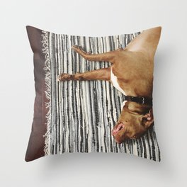big beefy sleepy pitbull Throw Pillow