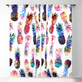 watercolor and nebula pineapples illustration pattern Blackout Curtain