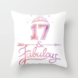 Girls 17 Years Old And Fabulous Girl 17th Birthday print Throw Pillow