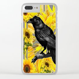 BLACK CROW/RAVEN & SUNFLOWERS FIELD Clear iPhone Case