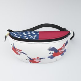 super flying pig usa with piglets Fanny Pack