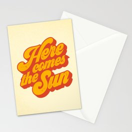 Here Comes The Sun | Retro 70s Typography Stationery Cards