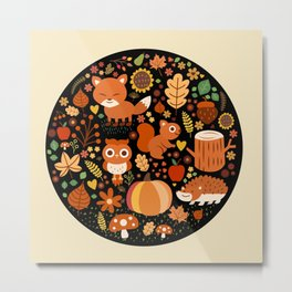 Autumn Party For Forest Friends Metal Print