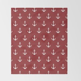 Maritime Nautical Red and White Anchor Pattern - Medium Size Anchors Throw Blanket