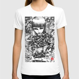 Gothic Girl Pencil Sketch T-shirt