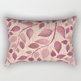 Berry Pink Leaves On Brushed Gold Rectangular Pillow