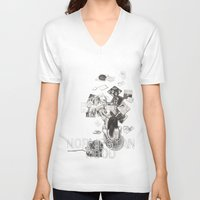 murakami V-neck T-shirts featuring Norwegian Wood Film Poster by Deborah Panesar Illustration