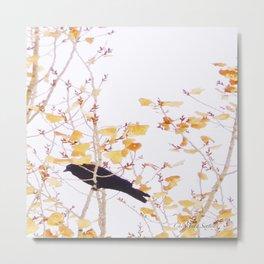 Holidaze Golden Crow high in golden leaves Metal Print