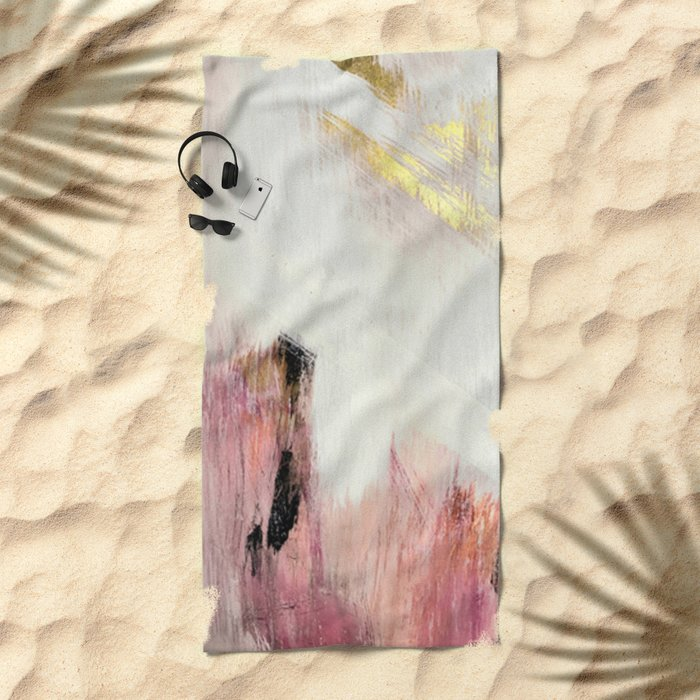 Sunrise [2]: a bright, colorful abstract piece in pink, gold, black,and white Beach Towel