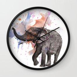 Dancing Elephant Painting Wall Clock