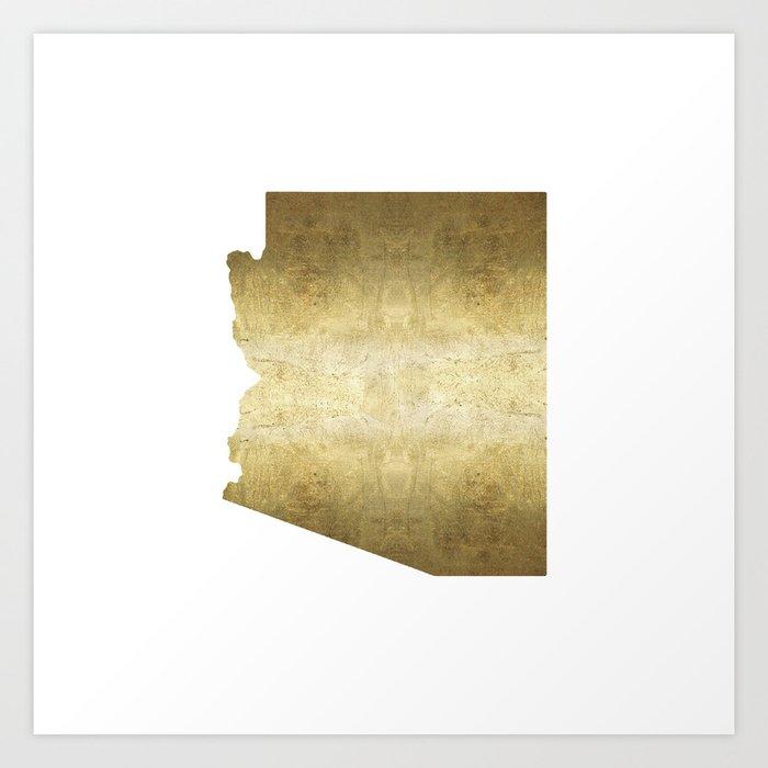 arizona gold foil state map Art Print by huntleigh on ohio map, missouri map, arizona economy map, arizona college team, az map, texas map, oklahoma map, colorado map, university of washington map, phoenix map, georgia map, arkansas map, tennessee map, utah map, florida map, arizona territory map, new mexico map, wisconsin map, tucson map, usa map,