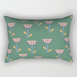 Folksy Floral Pattern in Green Rectangular Pillow