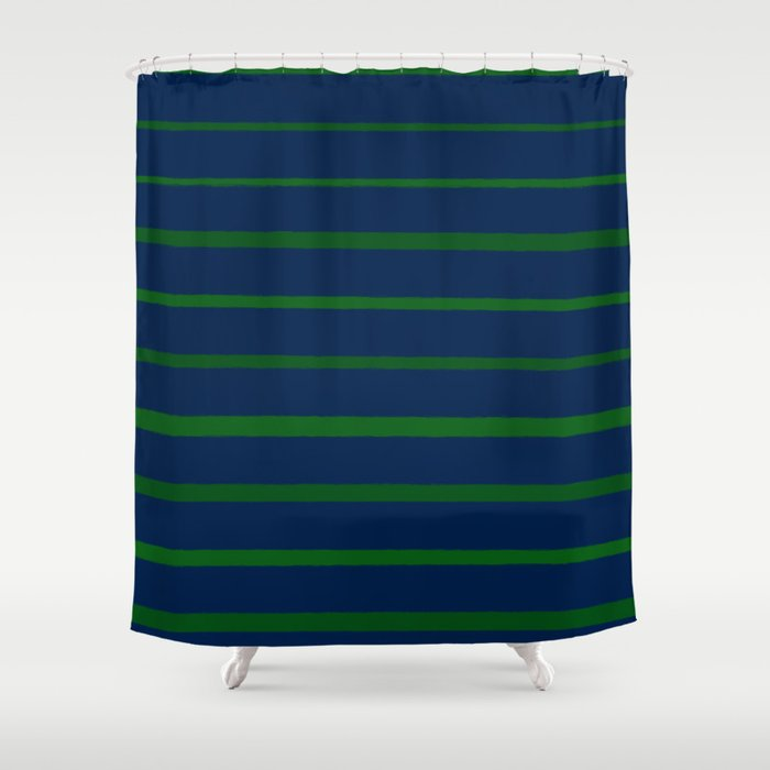 Slate Blue And Emerald Green Stripes Shower Curtain