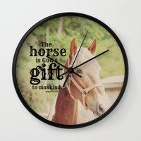 arab Wall Clocks featuring Horse Quote Arab proverb by KimberosePhotography