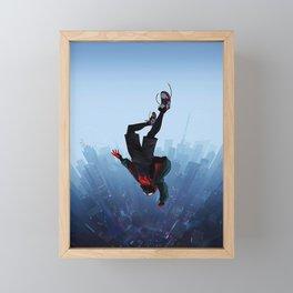Miles Morales jump Framed Mini Art Print