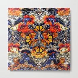 Art Nouveau Nasturtium and Butterflies Pattern Metal Print