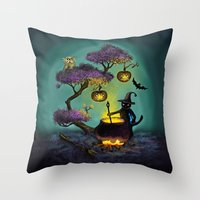halloween Throw Pillows featuring Halloween by Anna Shell