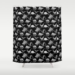 Black and White Dinos Shower Curtain