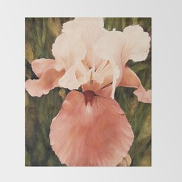 Pink White Iris Watercolor Nature Art Throw Blanket
