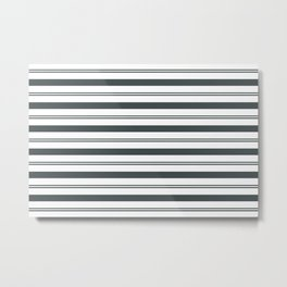 PPG Night Watch Pewter Green and White Stripes, Wide and Narrow Horizontal Line Pattern Metal Print