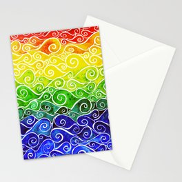 Rainbow Water Waves Stationery Cards