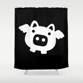 Pigs Will Fly - white on black Shower Curtain