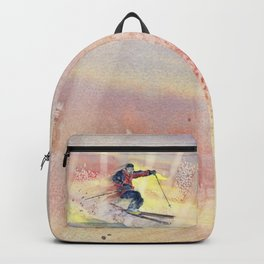 Colorful Skiing Art Backpack