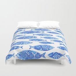 Folk watercolor fish pattern Duvet Cover