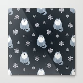 Winter Fox And Snowflakes Metal Print