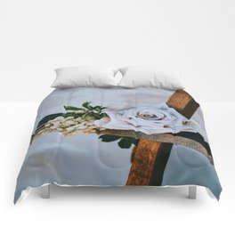 Rose on the Cross (Color) Comforters