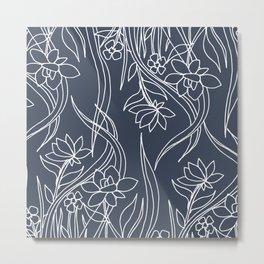 Floral Drawing in Blue Metal Print