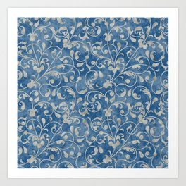Damask Denim Blue Background with Flowering Vine Floral in Mottled Gray Art Print