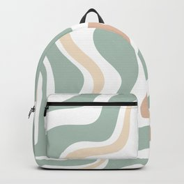 Liquid Swirl Abstract Pattern in Celadon Sage Backpack