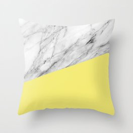 Marble and Yellow Color Throw Pillow