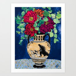 Bright Peony Rose Bouquet in Grecian Urn with Godzilla Walking French Bulldogs Painting Art Print