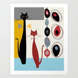 Mid-Century Modern Art Cats Art Print
