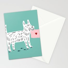 White Terrier Sending Love Stationery Cards