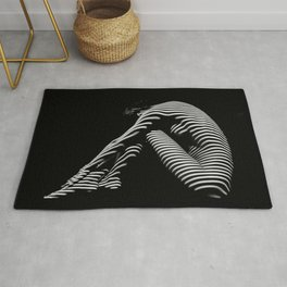 0056-DJA Zebra Back Nude Woman Yoga Black White Abstract Curves Expressive Line Slim Fit Girl Rug