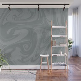 PPG Night Watch Pewter Green Abstract Fluid Art Swirl Pattern Wall Mural