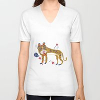 tiger V-neck T-shirts featuring tiger by echo3005