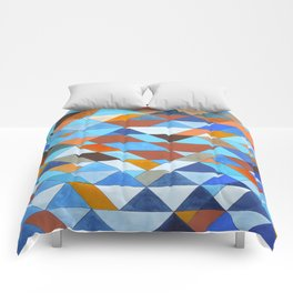 Triangle Pattern no.18 blue and orange Comforters