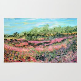 Abstract Landscape Painting, Summer Valley, Colorful Modern Home Decor Rug