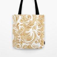 Gold Glitter Leaves Tote Bag