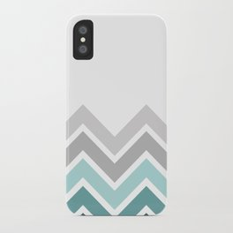 WHITE/ TEAL CHEVRON FADE iPhone Case
