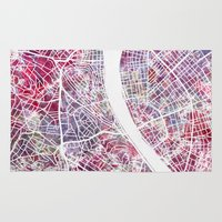 budapest Area & Throw Rugs featuring Budapest map by MapMapMaps.Watercolors