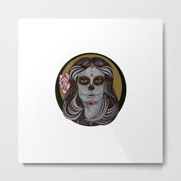 Sugar Skull in Pinstripes Metal Print