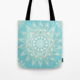 Elegant White Gold Mandala Sky Blue Design Tote Bag
