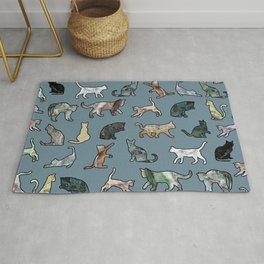 Cats Shapes Marble - Teal Steel Blue Rug
