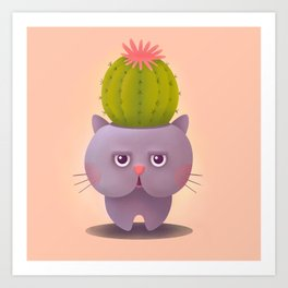 Cat cactus - kitty planter illustration Art Print